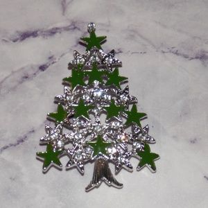 Christmas Tree Brooch Large Lapel Pin Up Style